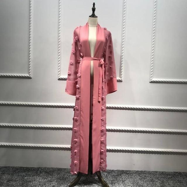 Elegant Muslim Abaya Floral Maxi Dress Cardigan Flowers Skirt Appliques Long Robes Tunic Middle East Pink / L