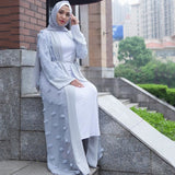 Elegant Muslim Abaya Floral Maxi Dress Cardigan Flowers Skirt Appliques Long Robes Tunic Middle East