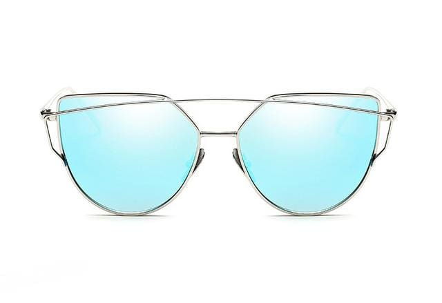 Emosnia Mirror Cateye Goggle Sunglass Ladies Fashion Metal Frame Pink Sunglasses Women Flat Top C11 Silver Blue