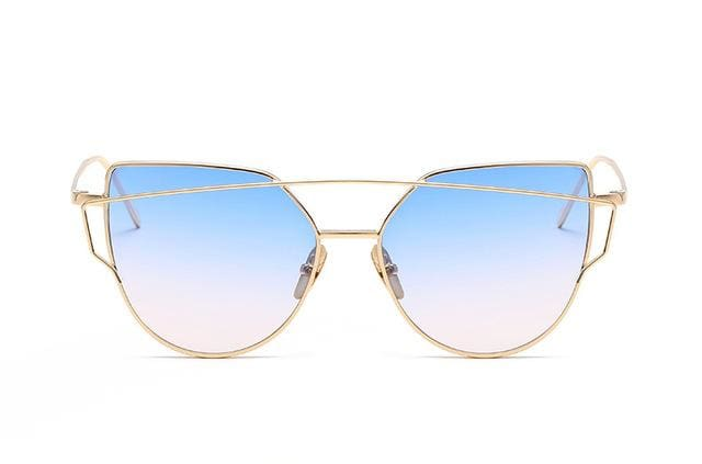 Emosnia Mirror Cateye Goggle Sunglass Ladies Fashion Metal Frame Pink Sunglasses Women Flat Top C1 Blue Pink