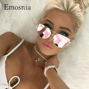 Emosnia Mirror Cateye Goggle Sunglass Ladies Fashion Metal Frame Pink Sunglasses Women Flat Top
