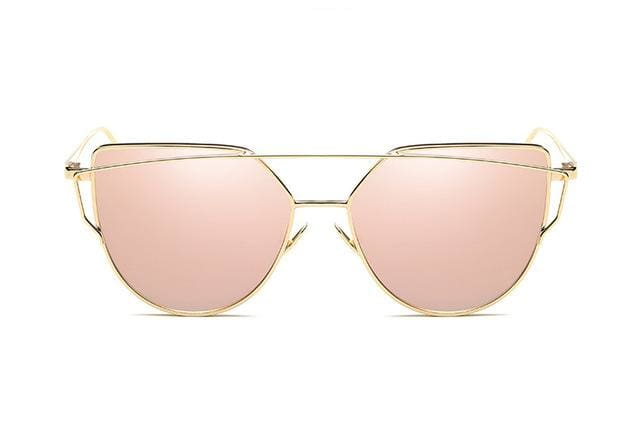 Emosnia Mirror Cateye Goggle Sunglass Ladies Fashion Metal Frame Pink Sunglasses Women Flat Top C9 Gold Pink
