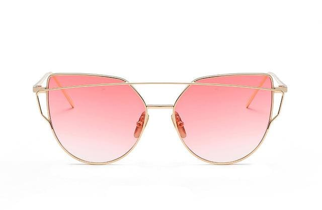 Emosnia Mirror Cateye Goggle Sunglass Ladies Fashion Metal Frame Pink Sunglasses Women Flat Top C5 Gold Pink