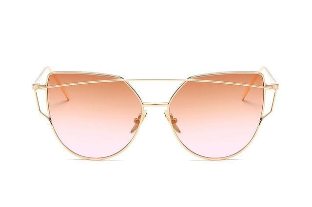 Emosnia Mirror Cateye Goggle Sunglass Ladies Fashion Metal Frame Pink Sunglasses Women Flat Top - MBMCITY