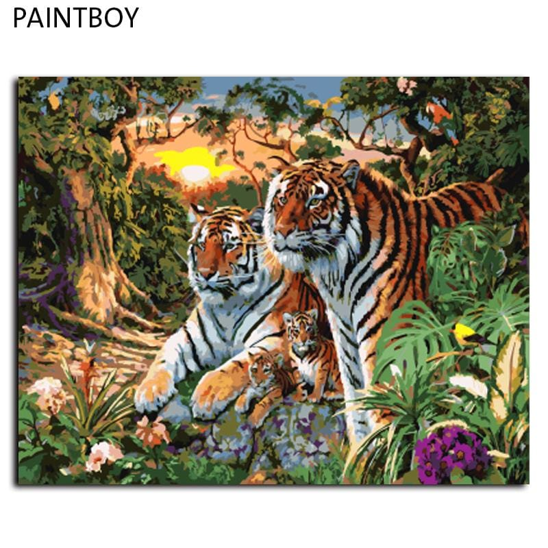 Europe Home Decoration Tiger Family Diy Canvas Oil Painting Framed Pictures Painting By Numbers Wall