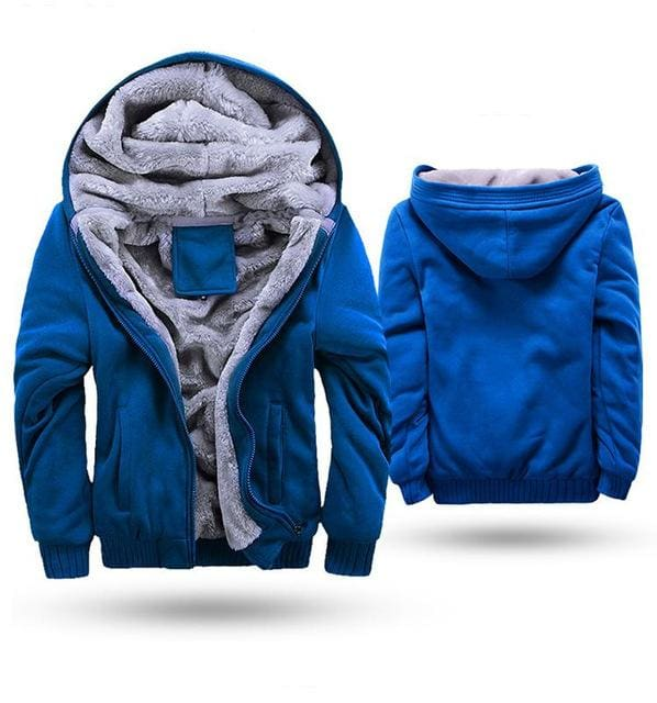 European Fashion Bomber Mens Vintage Thickening Fleece Jacket Autumn Winter Designer Famous Brand W11 Blue / S