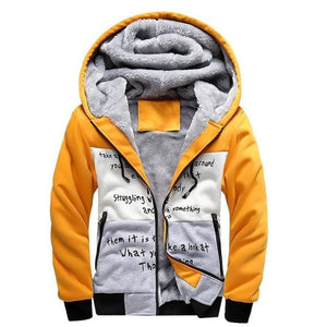 European Fashion Bomber Mens Vintage Thickening Fleece Jacket Autumn Winter Designer Famous Brand W33 Yellow / S