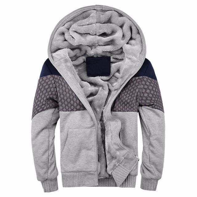 European Fashion Bomber Mens Vintage Thickening Fleece Jacket Autumn Winter Designer Famous Brand W06 Gray / S