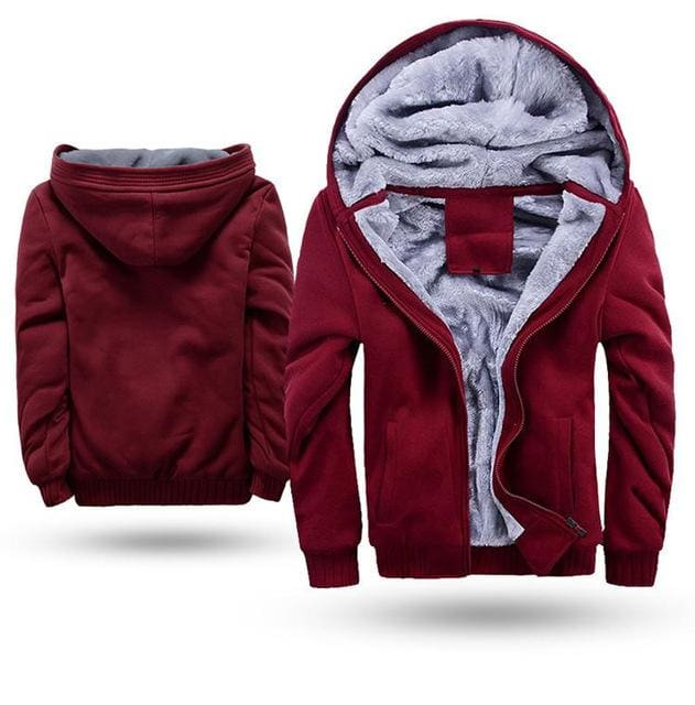 European Fashion Bomber Mens Vintage Thickening Fleece Jacket Autumn Winter Designer Famous Brand W11 Red / S