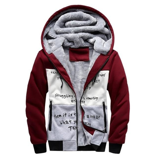 European Fashion Bomber Mens Vintage Thickening Fleece Jacket Autumn Winter Designer Famous Brand W33 Red / S