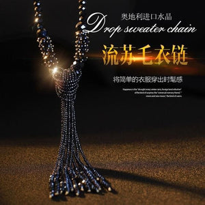European style fashion collocation of shiny string beads necklace high-grade crystal long tassels