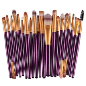 Eye Makeup Set 20 pcs Brushes Set Eyeshadow Blending Brush Powder Foundation Eyes Eyebrow Lip Pink
