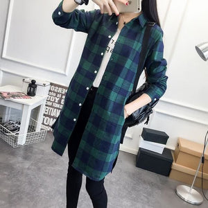 Eym Brand Autumn Women Long Shirt Girlfriend Style Cotton Casual Long Sleeve Red Flannel Plaid Shirt Green / S