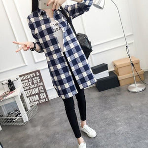 Eym Brand Autumn Women Long Shirt Girlfriend Style Cotton Casual Long Sleeve Red Flannel Plaid Shirt Blue / S