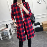 Eym Brand Autumn Women Long Shirt Girlfriend Style Cotton Casual Long Sleeve Red Flannel Plaid Shirt Red / S
