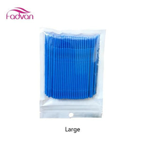 Fadvan 100Pc/lot Micro Brushes Eye Lash Glue Brushes Eyelashes Extension Lint Free Disposable Blue Large