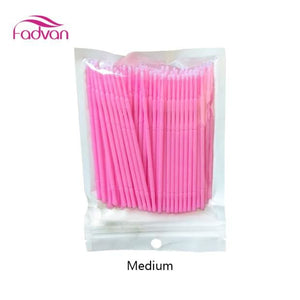 Fadvan 100Pc/lot Micro Brushes Eye Lash Glue Brushes Eyelashes Extension Lint Free Disposable Pink Medium