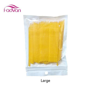 Fadvan 100Pc/lot Micro Brushes Eye Lash Glue Brushes Eyelashes Extension Lint Free Disposable Yellow Large