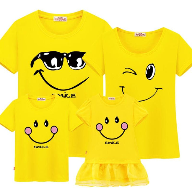 Family matching clothes mother daughter dresses son outfits cotton casual short-sleeve T-shirt - MBMCITY