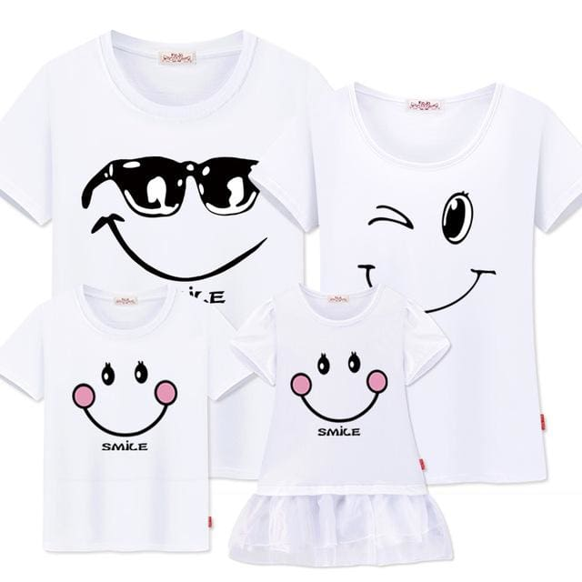 Family matching clothes mother daughter dresses son outfits cotton casual short-sleeve T-shirt