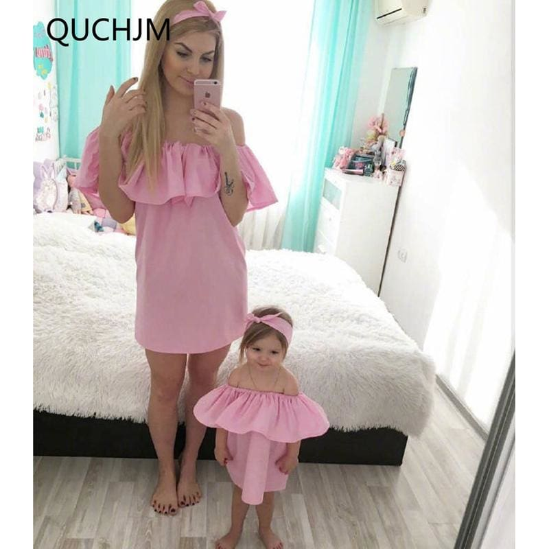 Family Matching Outfits Fashion Family Set Chiffon Dress Mother Daughter Dress Mom and Daughter - MBMCITY