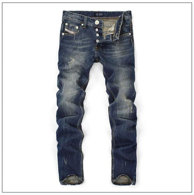 Famous Dsel Brand Fashion Designer Jeans Men Straight Dark Blue Color Printed Mens Jeans Ripped Blue / 29