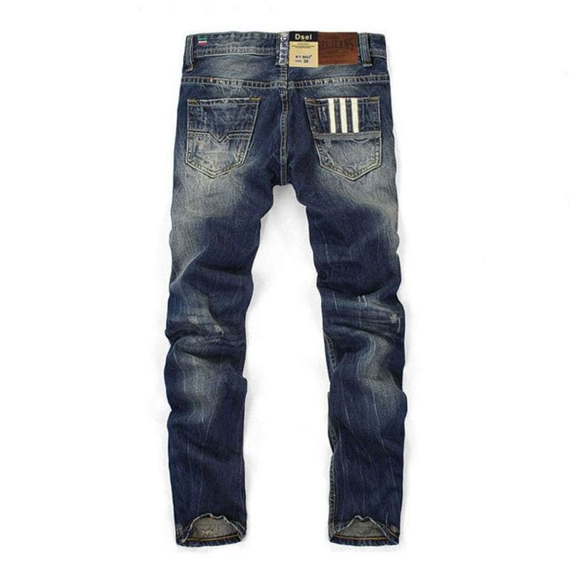 Famous Dsel Brand Fashion Designer Jeans Men Straight Dark Blue Color Printed Mens Jeans Ripped