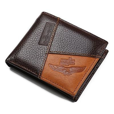 Famous Luxury Brand Genuine Leather Men Wallets Coin Pocket Zipper Men's Leather Wallet with Coin.