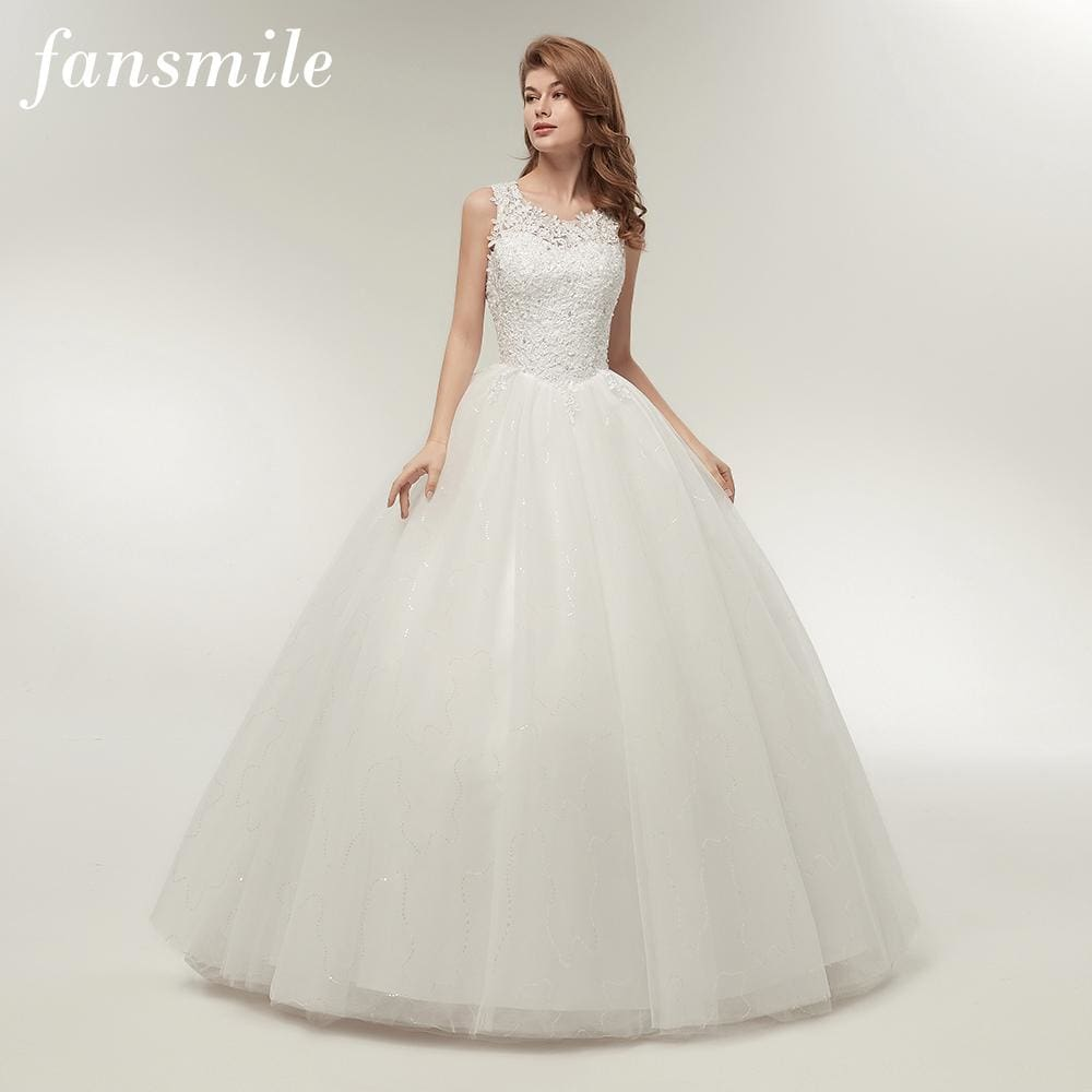 12f5912ade Fansmile Korean Lace Up Ball Gown Quality Wedding Dresses 2017 Alibaba  Customized Plus Size Bridal