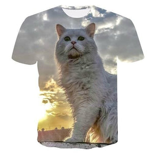 Fashion 2018 New Cool T-shirt Men/Women 3d Tshirt Print two cat Short Sleeve Summer Tops Tees T
