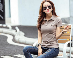 Fashion Autumn Summer Casual Polo Women  New Long Sleeve Slim Polos Mujer S-2XL Tops Women For