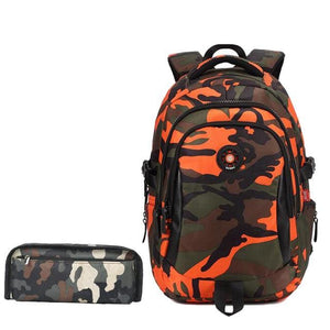 Fashion Camouflage Kid Backpack Bag School Bags Travel Backpack Bags For Cool Boy And Girl Drop Orange small
