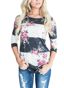 Fashion Casual Long Sleeve Printed Floral Flower T Shirt Women Top Tees Summer Autumn 2017 T-Shirt