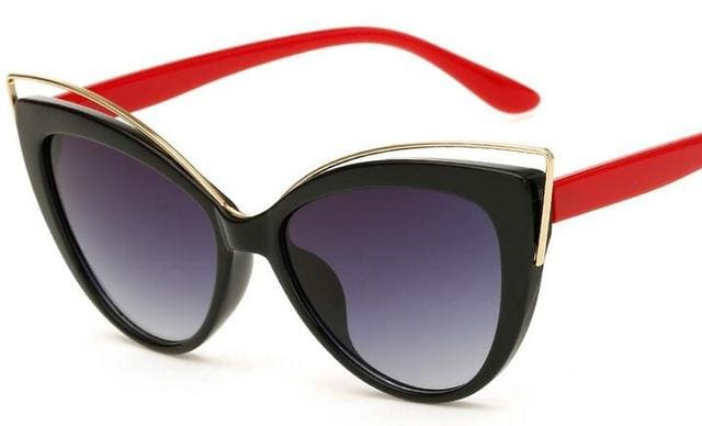 Fashion Classic Women Brand Designer Cateye Sunglasses Female Vintage Lady Sun Glasses Oculo De Sol Black Frame Red Leg