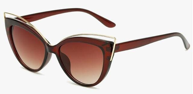 Fashion Classic Women Brand Designer Cateye Sunglasses Female Vintage Lady Sun Glasses Oculo De Sol Brown Frame Brown