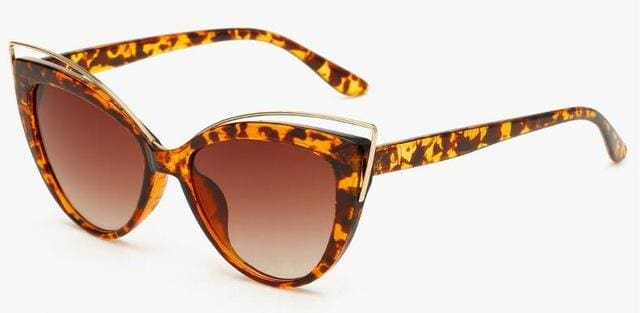Fashion Classic Women Brand Designer Cateye Sunglasses Female Vintage Lady Sun Glasses Oculo De Sol Leopard Frame Brown