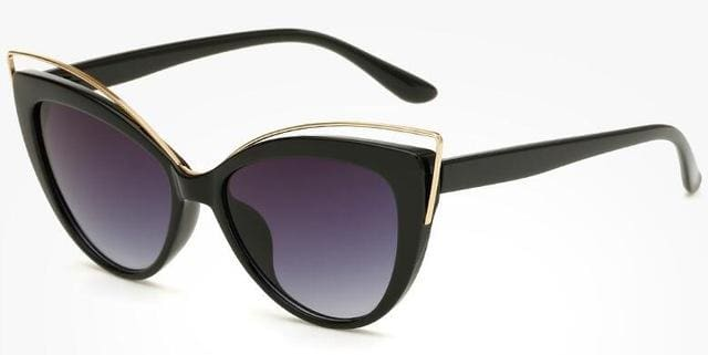 Fashion Classic Women Brand Designer Cateye Sunglasses Female Vintage Lady Sun Glasses Oculo De Sol Black Frame Grey