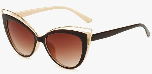Fashion Classic Women Brand Designer Cateye Sunglasses Female Vintage Lady Sun Glasses Oculo De Sol Black Frame Yellow