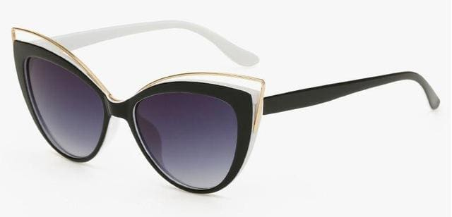 Fashion Classic Women Brand Designer Cateye Sunglasses Female Vintage Lady Sun Glasses Oculo De Sol Black White Leg