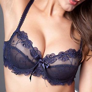 Fashion embroidery bras underwear women set plus size lingerie sexy C D cup Ultrathin transparent