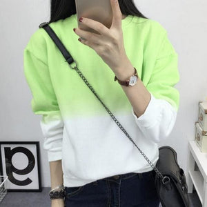 Fashion Long Sleeve Sweatshirts Slim Autumn Moletom Round Neck Gradual Change Printing Sudadera Green / L