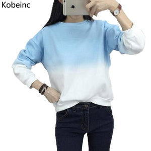 Fashion Long Sleeve Sweatshirts Slim Autumn Moletom Round Neck Gradual Change Printing Sudadera