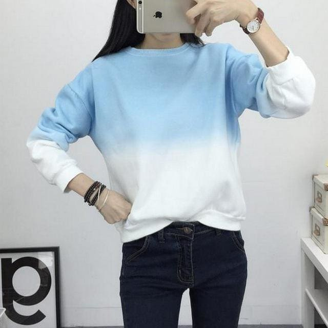 Fashion Long Sleeve Sweatshirts Slim Autumn Moletom Round Neck Gradual Change Printing Sudadera Blue / L