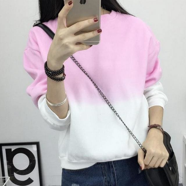 Fashion Long Sleeve Sweatshirts Slim Autumn Moletom Round Neck Gradual Change Printing Sudadera Pink / L