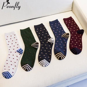Fashion Mens Cotton Socks Colorful Jacquard Art Socks Hit Color Dot Long Happy Socks Men's Dress - MBMCITY