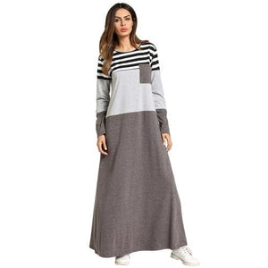 Fashion Muslim Abaya Stripe Maxi Dress Kimono Long Robe Gowns Tunic Loose Style Jubah Ramadan Middle As Photo Shows / L