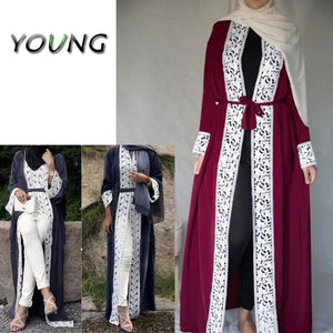 Fashion Muslim Lace Maxi Dress Open Abaya Cardigan Long Robe Gowns Tunic Kimono Jubah Middle East