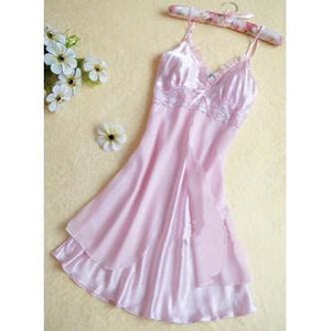 Fashion Sexy Women Lingerie Nightgown Casual Ladies Sleepwear Nightdress Camisola Vestidos Femininos Pink / L
