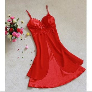 Fashion Sexy Women Lingerie Nightgown Casual Ladies Sleepwear Nightdress Camisola Vestidos Femininos Red / L