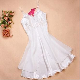 Fashion Sexy Women Lingerie Nightgown Casual Ladies Sleepwear Nightdress Camisola Vestidos Femininos White / L